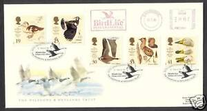 1996-WILDFOWL-SET-ON-FDC-WITH-BIRDLIFE-METER-MARK