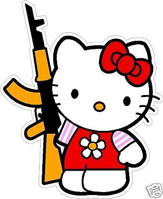 "HELLO KITTY WITH AK-47 DECAL STICKER  10""x12"""