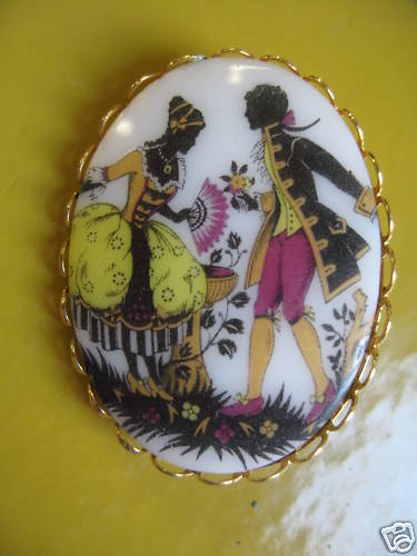 Beautiful Vintage Color Porcelain Victorian Pin