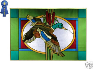 20x14 Stained Art Glass MALLARD DUCK Window Suncatcher
