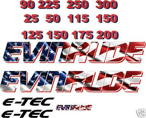 2 Small Evinrude Flag Outboard Boat Motor Decal,sticker