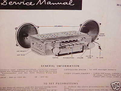 1956 NASH AMBASSADOR HUDSON HORNET HOLLYWOOD MOTOROLA AM RADIO SERVICE MANUAL 56