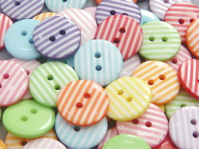 Lot-of-70-Stripe-Buttons-11-16-18mm-10-Colors-B42