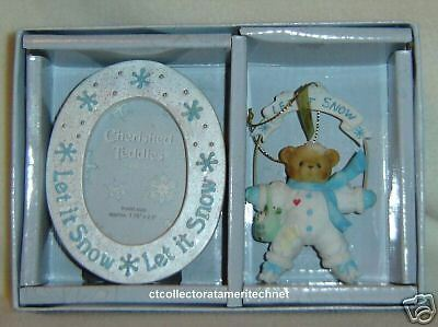Cherished Teddies Ornament & Frame 2004 Let It Snow