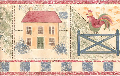 Country Quilt Stitch Rooster Floral Rabbit Bunny Blue Check Wall Paper Border