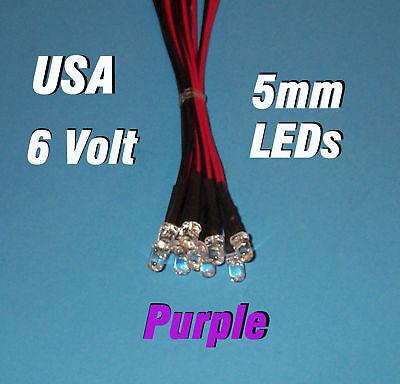 10 X Led - 5mm Pre Wired Leds 6 Volt Purple 6v Dc Usa