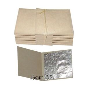 100 silver leaf leaves  sheets - Pure Real Silver  999/1000  - edible