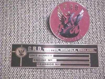 GRD Race Car British England Data Plate Horn Button Hood Medallion