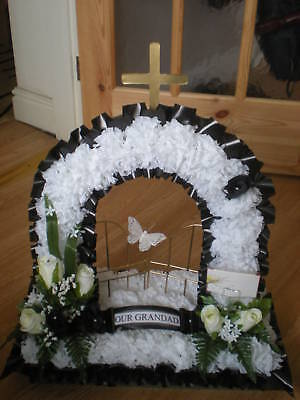Artificial Silk Funeral Flower Gates of Heaven Wreath Memorial Tribute Grave