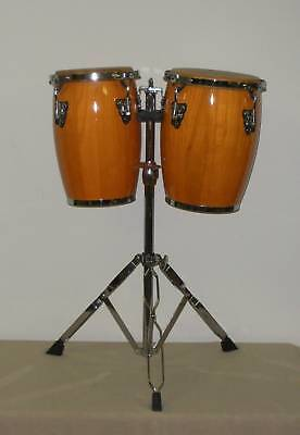 New 2 piece set of natural finish conga drums and stand on Rummage