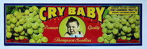 CRY BABY Old Grape Crate Label Fresno CA