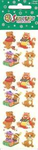 Sandylion-Vintage-80s-Fuzzy-CHRISTMAS-ANIMALS-Stickers-3-Squares