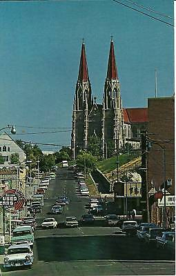 "Helena MT  ""Street View/St.Helena Cathedral"" Old Cars Postcard Montana"