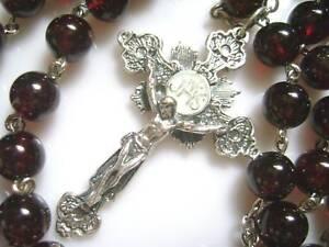 Sterling-925-Silver-Garnet-Gemstone-BEAD-ROSARY-CROSS-CRUCIFIX-CATHOLIC-NECKLACE