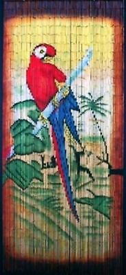 Bamboo Beaded Door Curtain-hand Painted Red Parrot