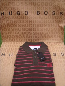 NEW-HUGO-BOSS-MENS-BROWN-RED-STRIPED-POLO-RUGBY-TIE-DESIGNER-JEANS-SUIT-T-SHIRT