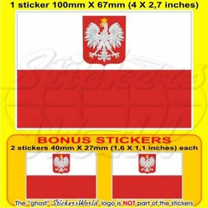 POLAND-Polish-State-Flag-10cm-Bumper-Sticker-x1-2-BONUS