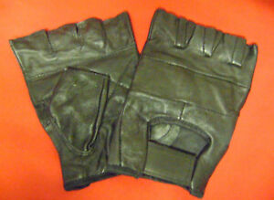 NEW-BLACK-FINGERLESS-LEATHER-GLOVES-CYCLING-S