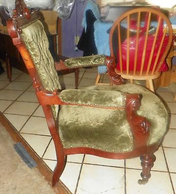 Walnut-Carved-John-Jelliff-Armchair-Parlor-Chair-green-velvet-fabric-AC82