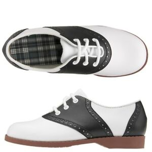 WOMENS-SIZE-10-BLACK-AND-WHITE-50S-STYLE-CLASSIC-SADDLE-SHOES-NEW