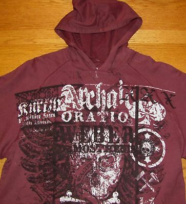 Archaic Mens Sweatshirt Hoodie Medium Red Mma