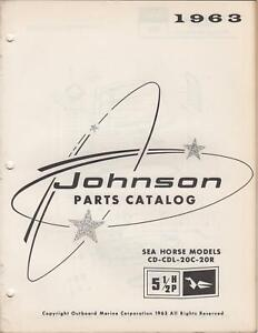 1963 JOHNSON SEAHORSE OUTBOARD  5 1/2HP PARTS CATALOG