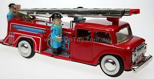FRICTION MOTOR TIN TOY FIRE ENGINE TRUCK SIREN & BELL  COLLECTIBLE LADDER RAISES