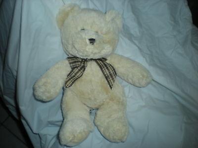 Goffa Cream Bear Plush Plaid Bow 12 Lovey Teddy