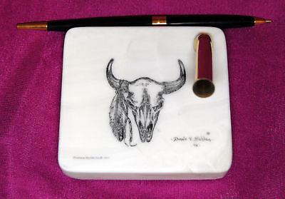 Indian Buffalo Skull Montana Marble Desk Pen Holder Set