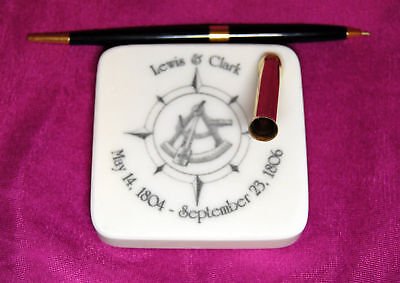 Lewis Clark Survey Montana Marble Desk Pen Holder Set