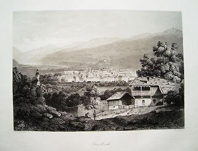Innsbruck Österreich echter  alter  Stahlstich 1848