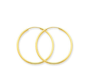 Details about endless hoops hoop earrings 14k yellow gold 25mm 1 quot