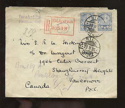 LATVIA 1926 REGIST.COVER to CANADA redirect PENTICTON