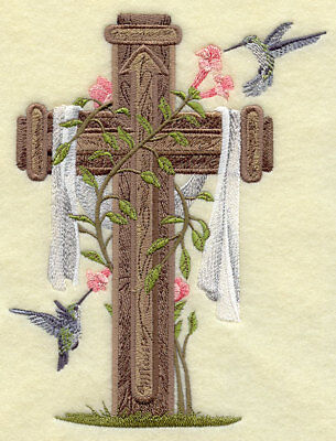 Cross & Hummingbirds ---machine Embroidered Quilt Block