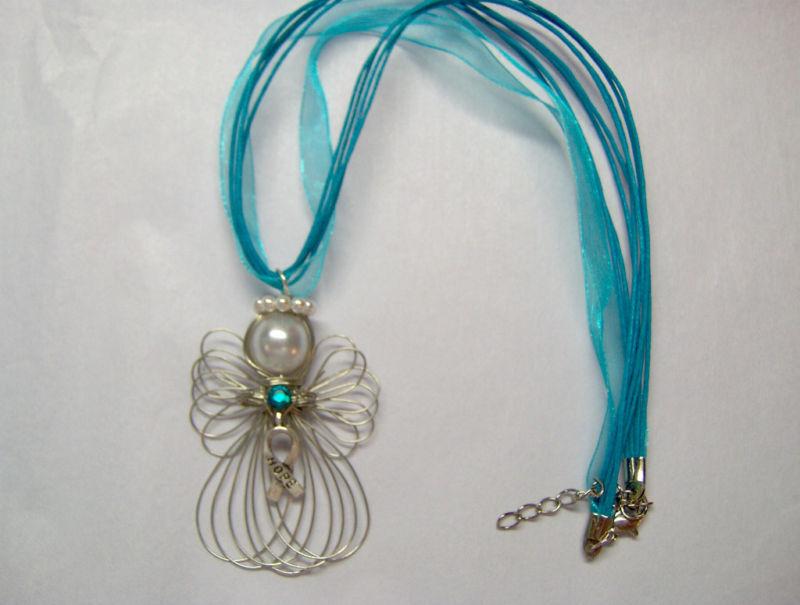 Ovarian Cancer Awareness Hope Ribbon Angel Necklace Handmade