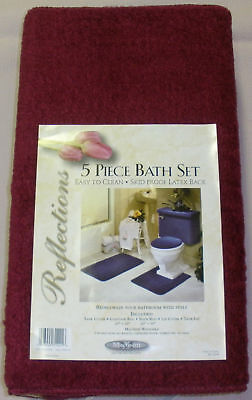 5 Piece Bath Rug Contour Lid Tank Lid Tank Cover Set Ebay