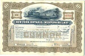 New York Ontario & Western Railway Stock Certificate RR