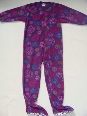 Girls Footed Fleece Pajamas Winter Size 4 5 Purple Pjs 1 Piece Jammies
