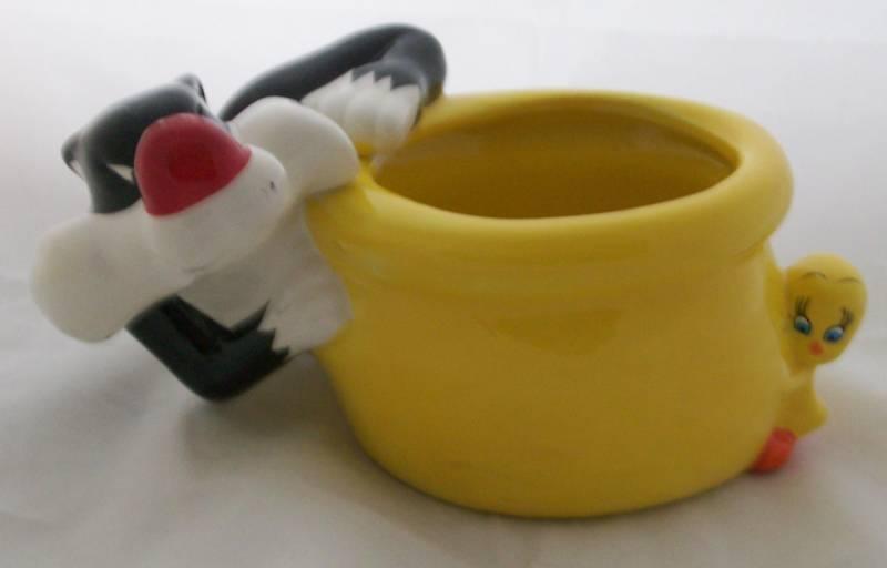 Trinket Holder Sylvester Tweety Planter Cachepot Warner Bros Looney Tunes Cutie