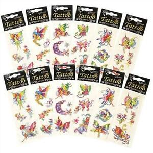 10-PACKS-FAIRY-GLITTER-TATTOOS-TRANSFERS-GIRLS-PARTY-BAG-TOY-FILLERS