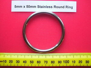 Pack 10 5mm x 50mm Marine Stainless Steel Round Ring O rings 316 Webbing Harness