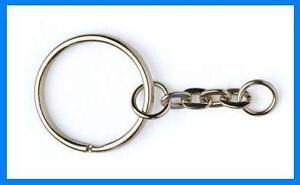 100-KEYRING-KEYCHAIN-25mm-SPLIT-RING-SHORT-CHAIN-RK1N