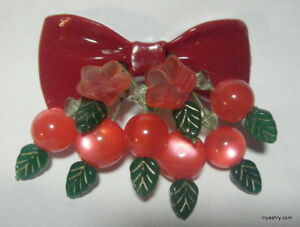 red-LUCITE-BOW-CHERRY-BEADS-CZECH-GLASS-LEAF-BROOCH-PIN