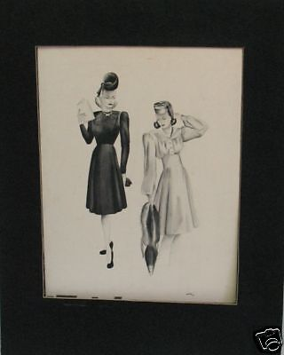 """5 Original 1930's Fashion Drawings signed """"Dudley"""" w/ Fine Detail & Design"""