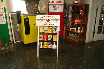 TEXACO  Gas Station Oil Can Rack Display for 12 Cans
