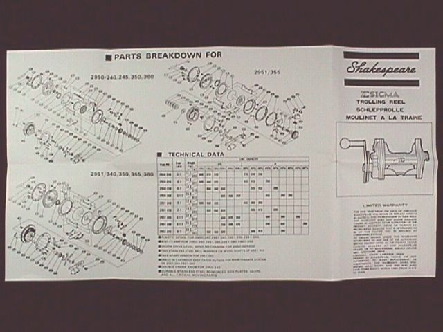 SHAKESPEARE SIGMA TROLLING  REEL OWNER MANUALS - REPRO
