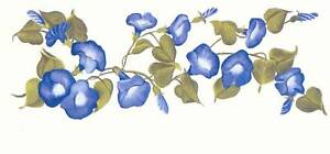 MORNING GLORIES BLUE TRANSFER ART DECALS HAND PAINTED WALL DESIGNS