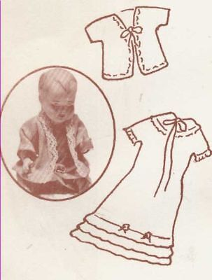 """4.5""""ANTIQUE MINIATURE ALL-BISQUE BABY DOLL CHRISTENING DRESS&SACQUE PATTERN"""