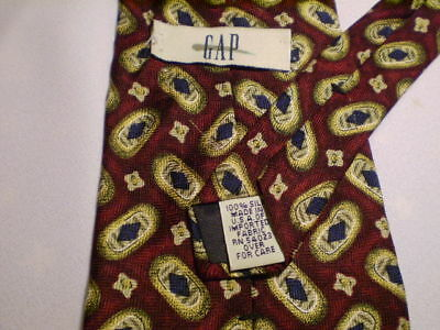 Gap-Blue-Gold-Red-Oval-Designs-Silk-Tie-58