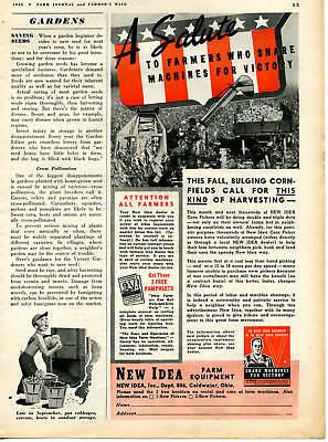 1942 New Idea Corn Row Picker Tractor Implement Magazine Ad